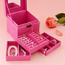Europan style storage box creative square suede jewelry box makeup storage home organizer