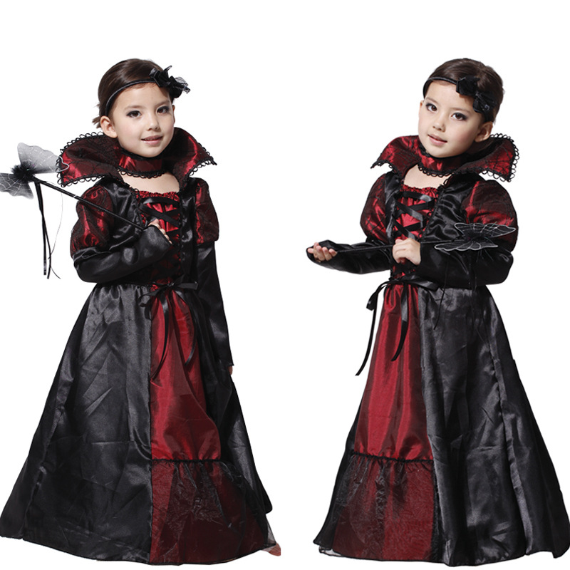 Anime Snow White Cosplay Costume Evil Emperor Queen Dress For Kids  Masked Balls Halloween Costumes