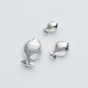 Бусины-разделители из серебра 925 пробы с подвеской в виде рыбы, размеры S, M, L