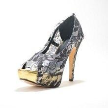 Lace Cut-Outs Soft Leather Women's Stiletto Heel Sandals Shoes chaussure femme 2015 Cover Heel Slip-On Platform Women Shoes