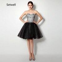 Setwell/платья для выпускного вечера длиной до колена 2017, украшенные блестками и стразами, без ремешков, на шнуровке до колена Черное вечернее п