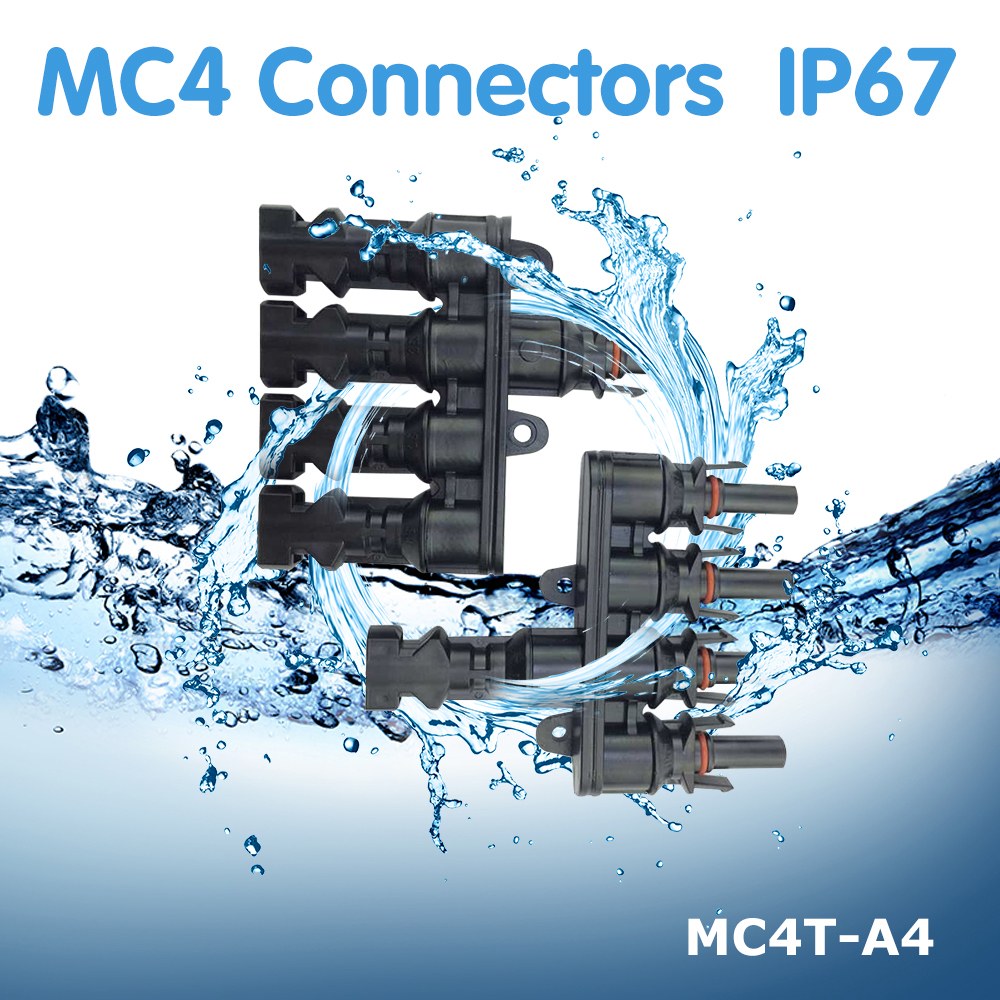 1 pair M/FM Solar Panel 4 to MC4 T Branch 30A Connector Cable Coupler Combiner Connectors MC4T-A4