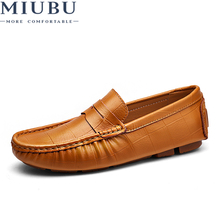 MIUBU 2019 New Men Casual Driving Shoes Leather Loafers Luxury Flats Male Chaussure Big Size