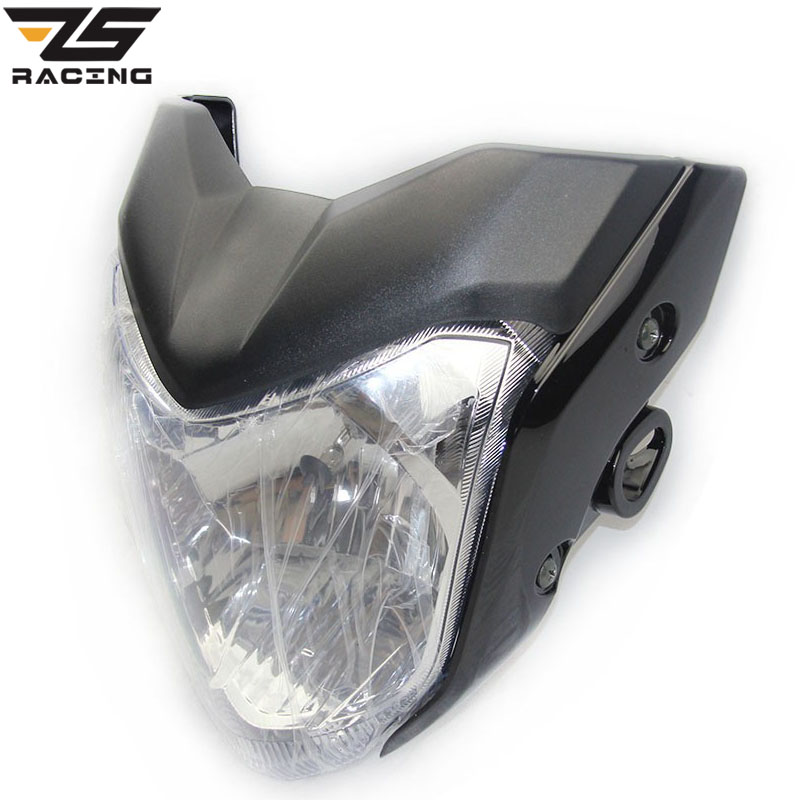 ZS-Racing Universal Rracing Motorcycle Headlight With Bulb And Bracket Used For Y.M.H FZ16 Red Black Blue Gray Color Headlamp xuankun motorcycle lf150 10s kpr150 original headlamp bracket combination