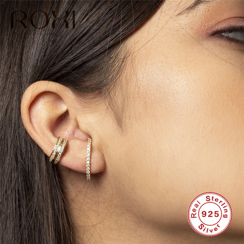 ROXI 925 Sterling Silver Earrings Bar Shape Crystal Ear Climbers Stud Earrings for Women Fashion Jewelry Single Row CZ Ear Studs