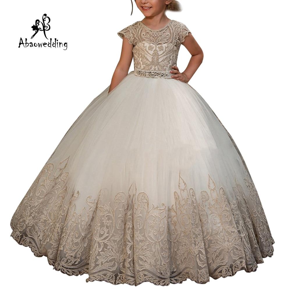 New Arrival Girls Beading Sash Ball Gowns Lace Appliques Floor Length Flower Girls Princess Elegant Wedding