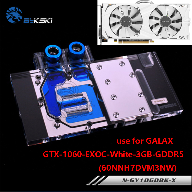 BYKSKI Full Cover Graphics Card Block use for GALAX-GTX-1060-EXOC-White-3GB-GDDR5-(60NNH7DVM3NW) Copper GPU Block RGB Light original gtx980m gtx 980m graphics gpu card n16e gx a1 8gb gddr5 for alienware clevo gtx980 video card gpu replacement