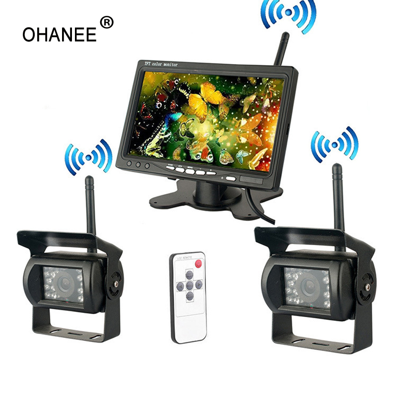 OHANEE Wireless 4 Backup Cameras IR Night Vision Waterproof with 7 Rear View Monitor for RV Truck Bus Parking Assistance System wireless dual backup cameras parking assistance night vision waterproof rearview camera with 7 monitor for rv truck trailer bus