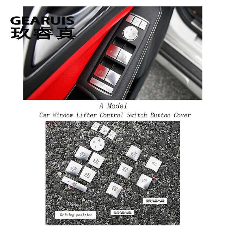 Diseño de coche para Mercedes Benz CLA C117 GLA X156 A/B Ventana de clase levantador de Control de Marco interruptor decoración reposabrazos panel cubre las pegatinas