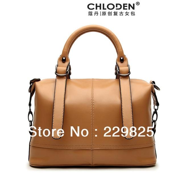 Chloden Genuine Camel Leather Handbags Super Star Luxury Cowhide Brand Design Platinum Series Vintage Celebrity Tote