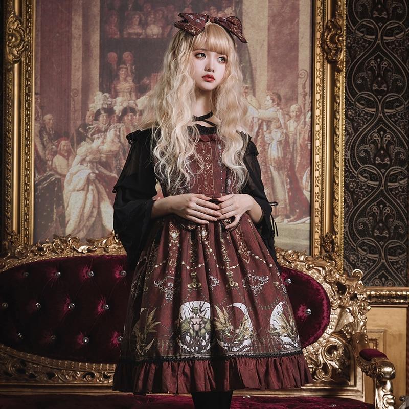 Gothic Style Women Lolita JSK Dress Victorian Wine Prom Dresses Vintage Gorgerous Fairyland Cute Classic Layered