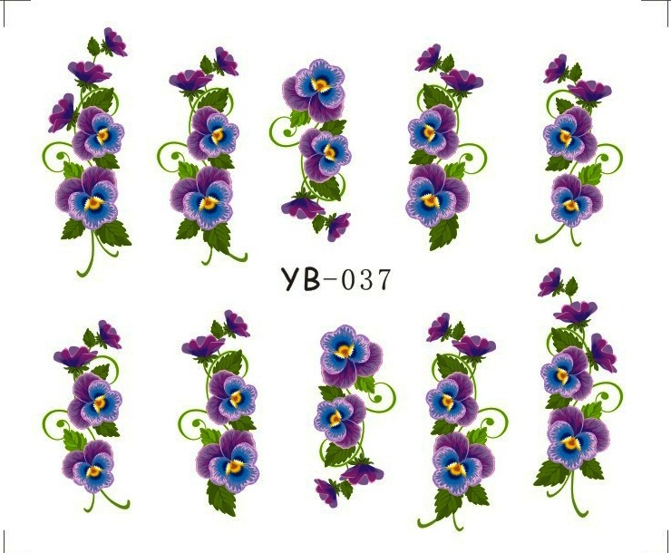 1X  Nail Sticker Large Flower Vine Water Transfers Stickers Nail Decals Stickers Water Decal Opp Sleeve Packing YB037-042 elegant faux gem rhinestone flower opening bracelet for women