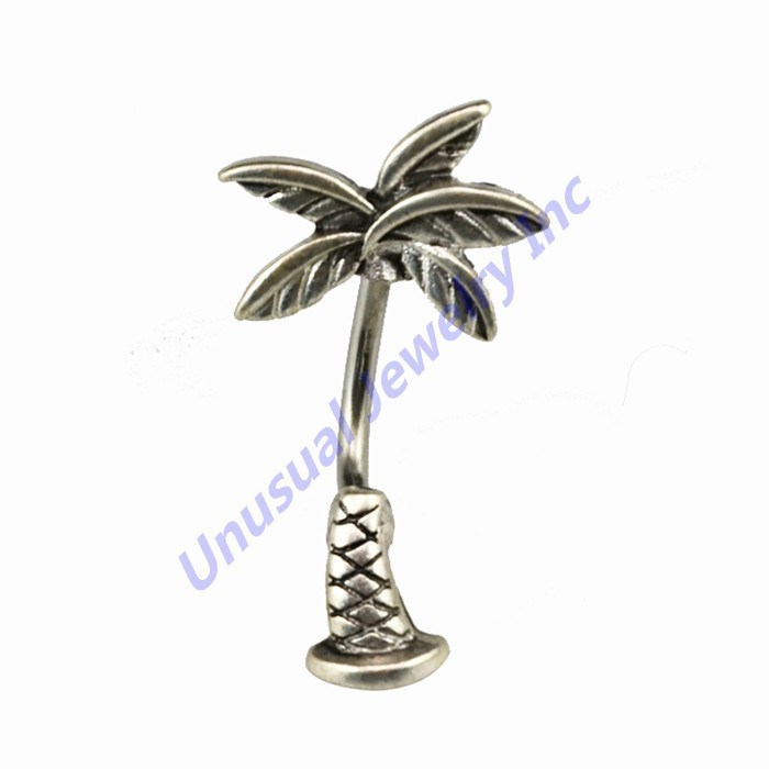 316l Stainless Steel Coconut Tree Belly Button Ring Coco Navel Stud