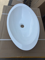 600 x 350 x 105mm CUPC Approval Oval Countertop Solid Surface Washbasin Glossy Corian Acrylic Resin Vessel Sink RS3857HG 462