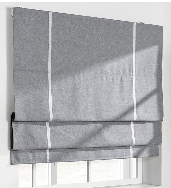 Custom Made Blind Curtains Cotton And Linen Roman Curtain For Living Bathroom Door Bay Window Blackout Grey