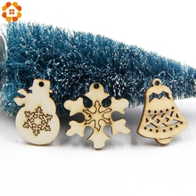 50PCS Tree Snow Flakes Star Shape Natural Wooden Chip DIY Christmas Tree Hanging Ornaments Pendant Decor Kids Gifts Supplies