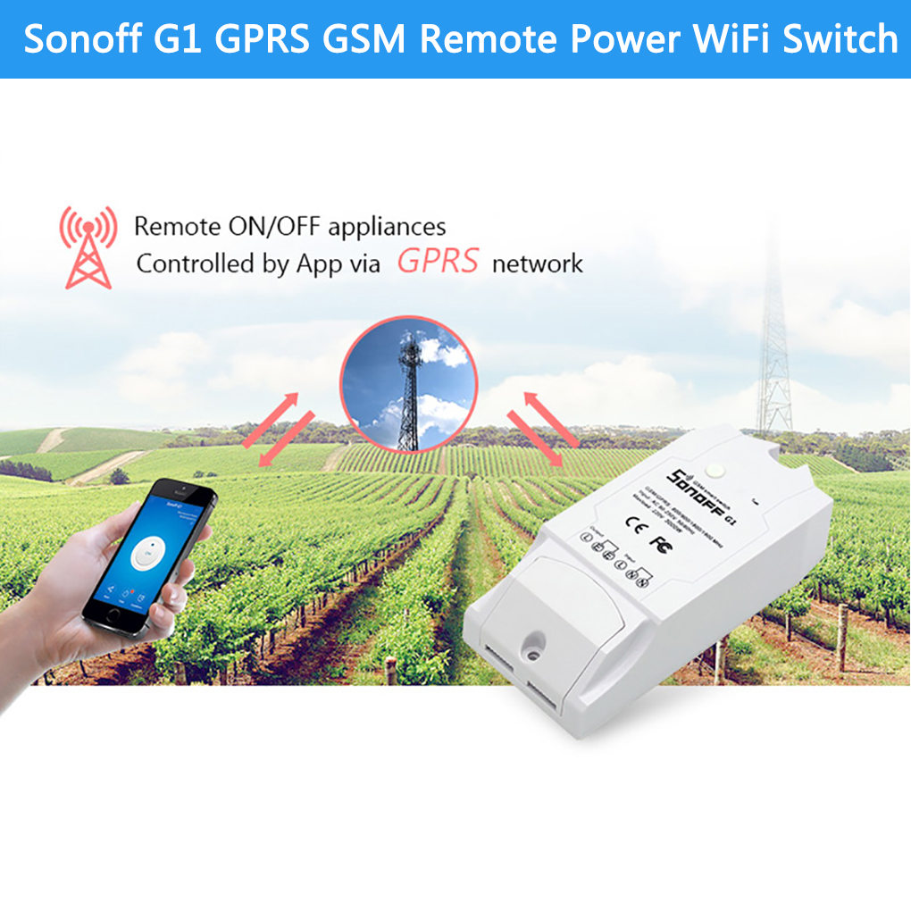 Sonoff G1 GPRS/GSM Remote Power Smart Switch Remotely turn on/off Home appliances Wireless Switch Works With Alexa & Google Home sonoff g1 wifi switch gprs switch gsm mobile phone remote controller water pump lights outdoor use