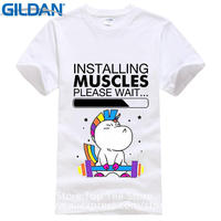 Fashion And Wot Shirt Free Shipping Regular Unicorn Ins Ing Muscles Please Wait O-Neck Short-Sleeve Mens Tee Shirt