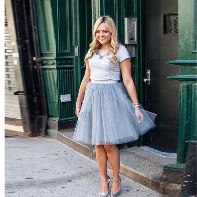 Offre spéciale gris Tulle jupes longueur genou Simple Tutu jupe mode style trois couches de Tulle de haute qualité personnalisé