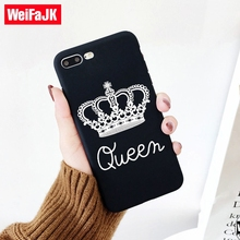 ФОТО weifajk black matte case for iphone 6 7 silicone crown king queen soft tpu back cover cases for iphone 5s 7 8 plus case 6 5 capa