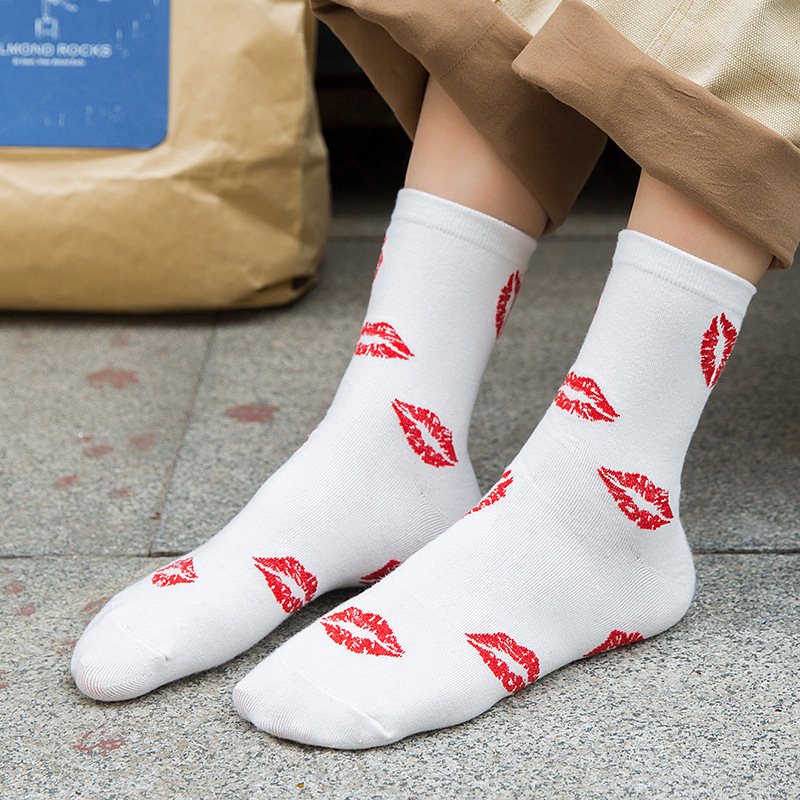 Women Socks 2019 Autumn Winter New Fashion Adult Printed Cartoon Mouth Cotton Socks Breathable Long Casual Socks Women