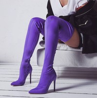 Sexy Pointed Toe Slim Over Knee Boots Long Tight High Heel Boots Purple