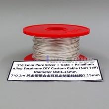 LN006223 10 м 7*0,1 мм чистое серебро+ золото+ палладий наушники из сплава DIY пользовательский кабель(не Telf) диаметр OD: 1,2 мм