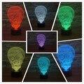 Ilusão 3D luz da noite Vertigem máscara forma Acrílico 3D Toque Lâmpada Luminaria de Mesa USB Lâmpada de Humor