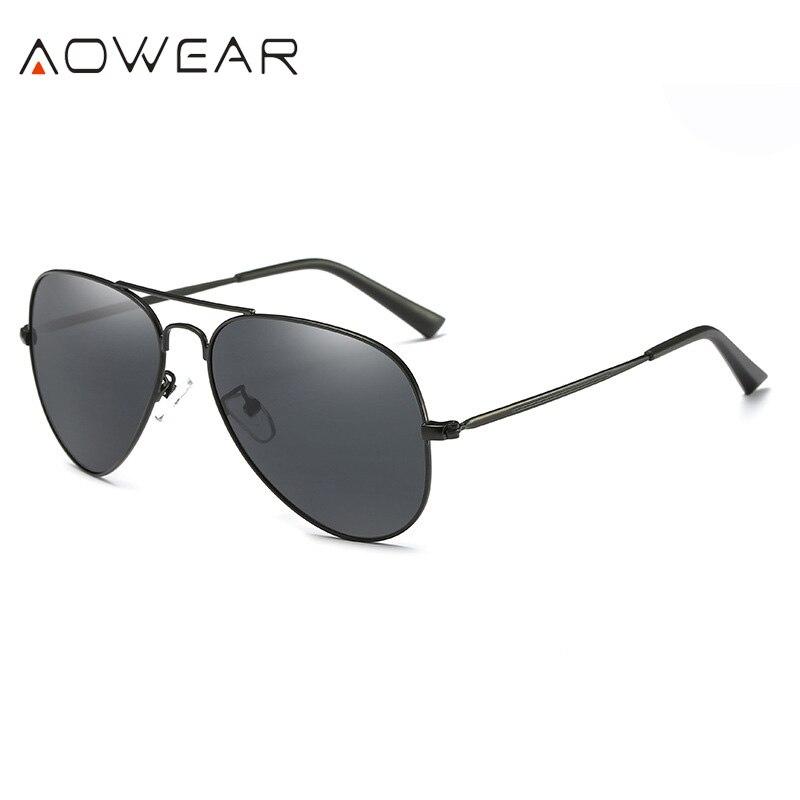 Mode Polarisierte Sonnenbrille für Männer Frauen/Metall Männer Aviator Fahren Polarisierte Sonnenbrille Outdoor Sport Eyewear UV400 (Black) i7Nw7H9P