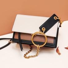 Luxury Handbags Women Bags Designer Genuine Leather Shoulder Flap Bag Ladies Vintage Metal Ring Handle Small Chain Crossbody Bag metal ring detail flap pouch bag