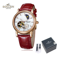 watch women Mechanical watch 401 SOLLEN brand day and night hollow visual movement Fashion business lady wristwatch 401