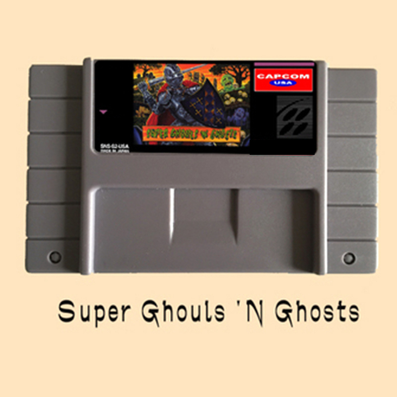 Super Ghouls 'N Ghosts USA Version 16 bit Big Gray Game Card