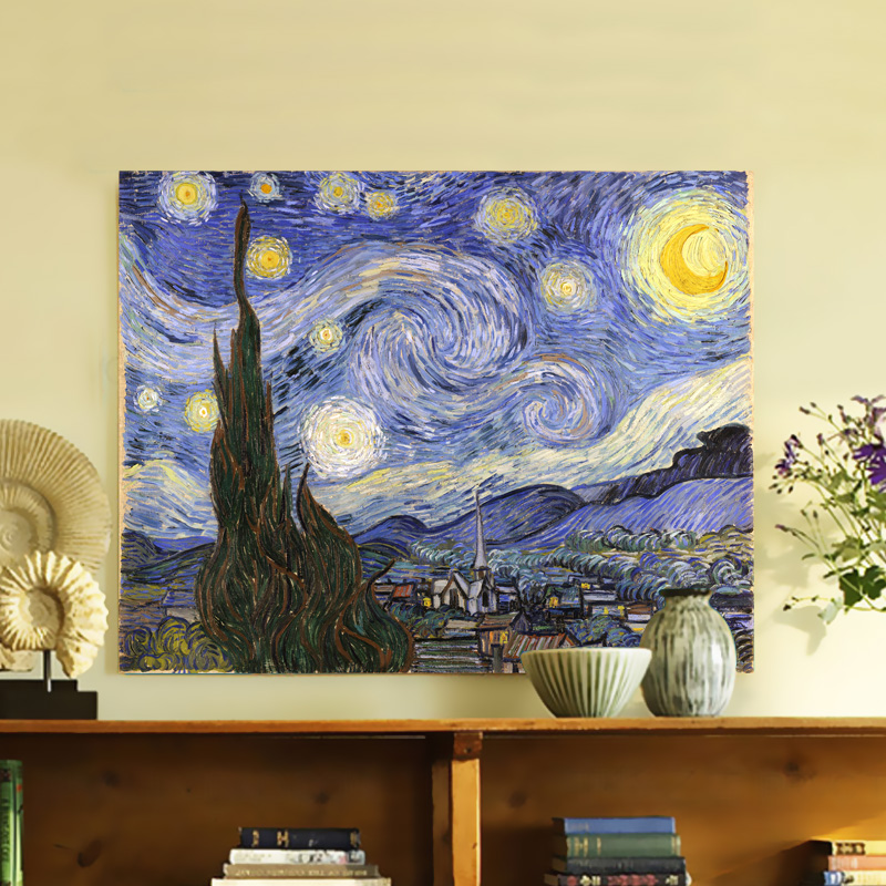 Free shipping canvas painting wall pictures wall art Van gogh starry ...