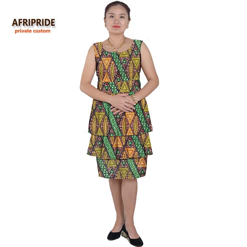 Nuevos vestidos africanos para mujer estilo de la torta femmes ropa africana impresión de cera de algodón de longitud media personalizada personalizada más el tamaño A622510
