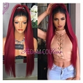 Fashion Long Straight Red Lace Front Wig Ombre 1B To Red Wig Heat Resistant Middle Part Synthetic Lace Front Wig For Black Women
