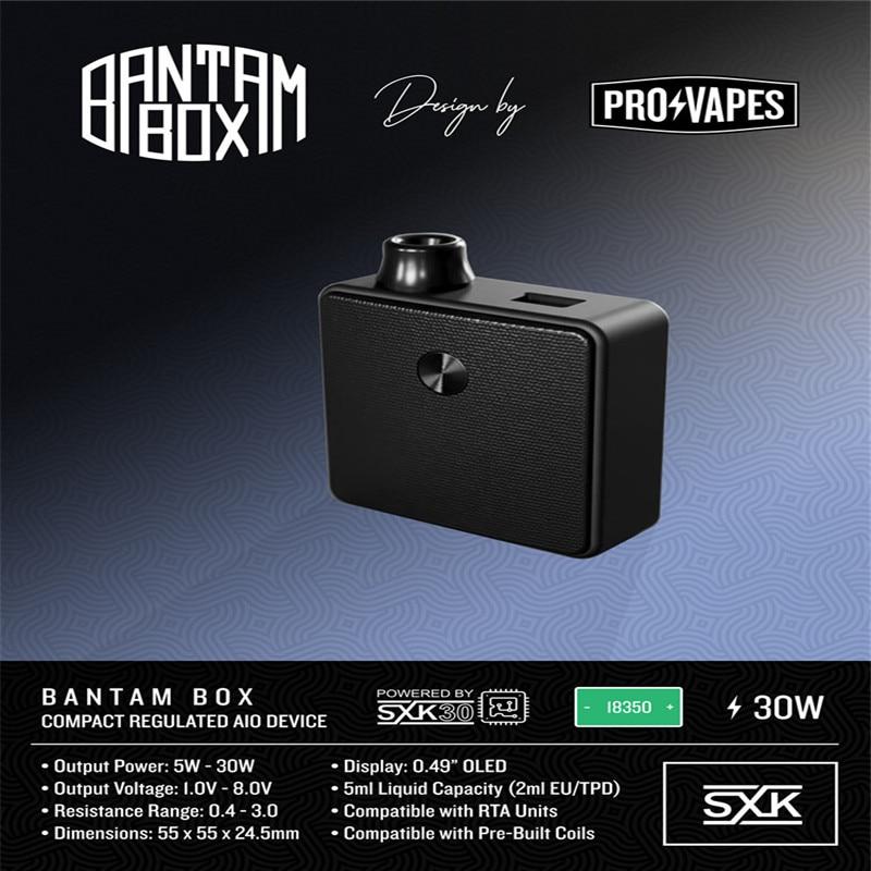 Новое поступление подлинный SXK дизайн Bantam мини бокс мод 2 мл/5 мл Емкость 30 Вт черный серебристый цвет 18350 BB мини мод vape испаритель - 3