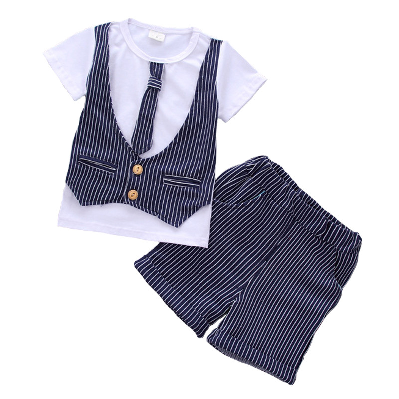 Gentleman Baby Boys Clothing Summer 2017 New Striped Children Clothes Cotton Kids Boy Clothing Tshirts+Short Pants Kids Suit Set