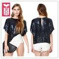 CCR Nueva ladys Negro brillante lentejuelas paillette 2016 de moda de Verano de Manga corta Para Mujer Del Club Camiseta Floja tees tops Streewear