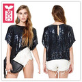RCC New 2016 Summer fashion ladys Black shiny sequins paillette short Sleeves Womens Club T-shirt Loose tees tops Streewear