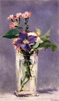 wall art modern Pinks and Clematis in a Crystal Vase Edouard Manet Paintings Hand painted High quality