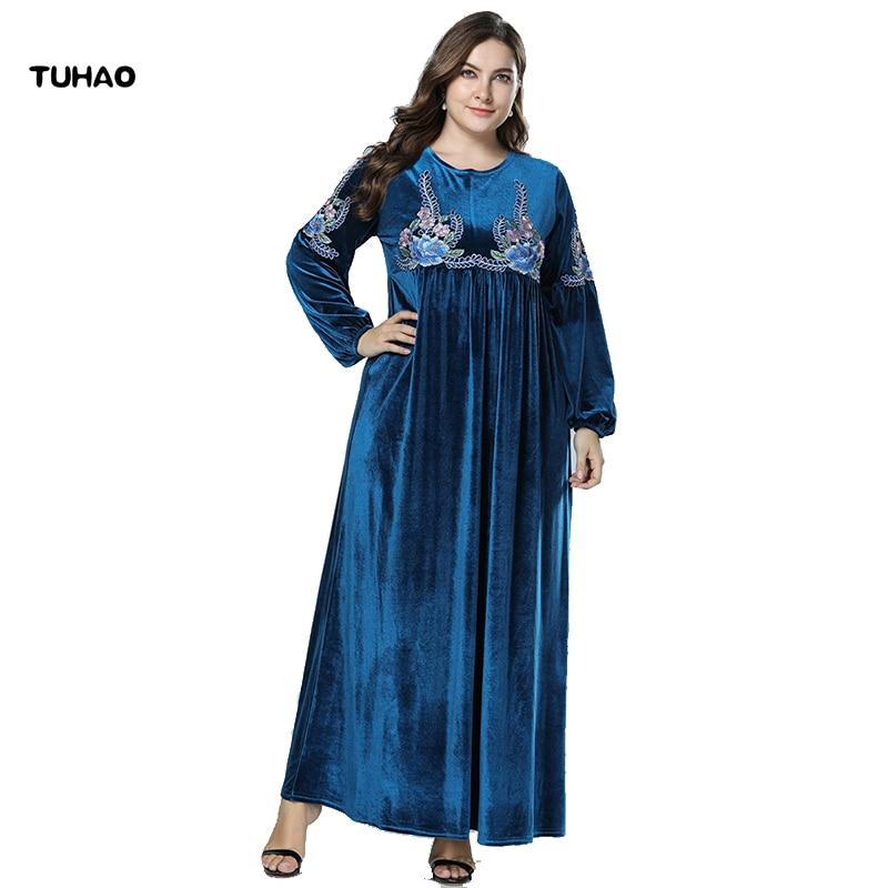 978116a46ddc TUHAO 2018 Autumn Winter Velvet Abaya Muslim Dress Women Plus Size 4XL 3XL Dresses  Vintage Retro