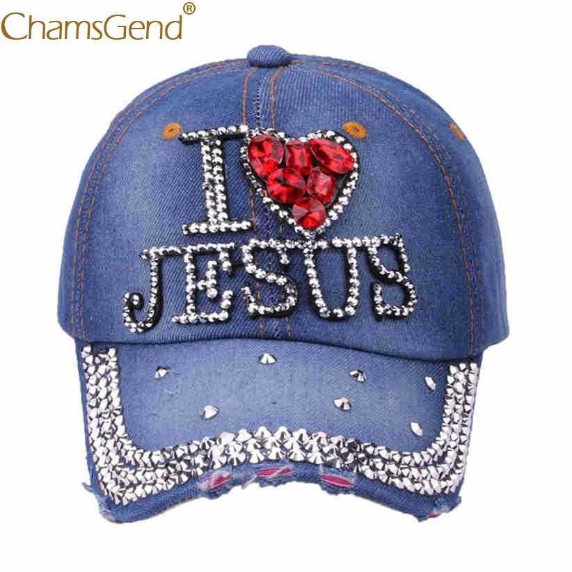 شحن مجاني قبعات بيسبول جينز من الدنيم بحجر الراين على شكل حرف I LOVE JESUS قبعات هيب هوب للرجال والنساء 80503 بشحن مخفض