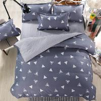 Adeeing Geometric Striped Cotton Bed Set Sheet + Duvet Cover + Pillowcase Bedding Suit Twin/Queen/King Size