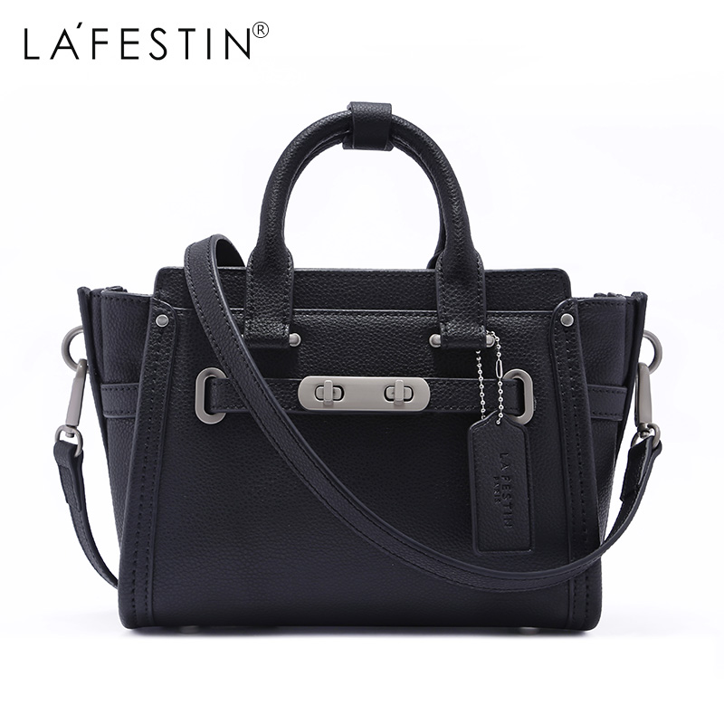 LAFESTIN Women Handbag Genuine Leather Trapeze Large Totes Crossbody Shoulder Bags Luxury Designer Bag Famous Brand Lady Bags luxury retro genuine leather lady handbag flannel inside metal decor women s bags crossbody bag