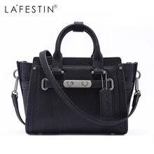 LAFESTIN Women Handbag Trapeze Genuine Leather Totes Shoulder Bags Zipper Versatile European Fashion Famous Brand Lady Bags