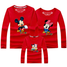 2019 Family Clothes Long Sleeve Mickey Print Tee Shirt for Family Matching Tops T Shirt Cu