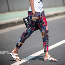 2017  style linen summer ankle length trousers male trend national flower strap harem pants ultra-thin breathable trousers