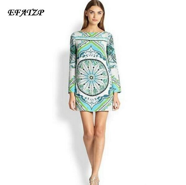 Size 46,S XXL,New 2014  Luxury Brands Women's Long Sleeves Baroque Print Green Slash Collar Stretch Jersey Silk Dress-in Dresses from Women's Clothing    1