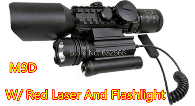 Free shipping 3-10X42 M9D Red Green Illuminated Rifle Scope w/ Side Mounted Laser and Flashlight, 3 in 1 Combo Rifle scope sight 3 10x42 red laser m9b tactical rifle scope red green mil dot reticle with side mounted red laser guaranteed 100%