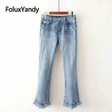 Pearls Jeans High Street Women Plus Size Denim Flare Pants Stretched Slim Tassel Skinny Jeans Trousers KKFY2888 цена 2017